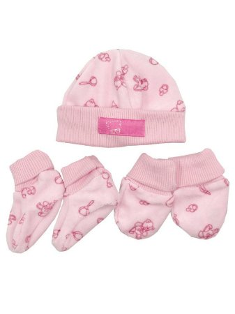 Kit Luva Pantufa e Gorro Bear Rosa Be Little
