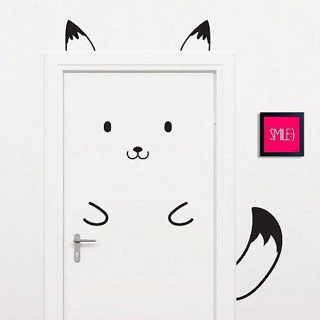 Adesivo Decorativo Infantil Stixx de Parede ou Porta Fox Cute Preto