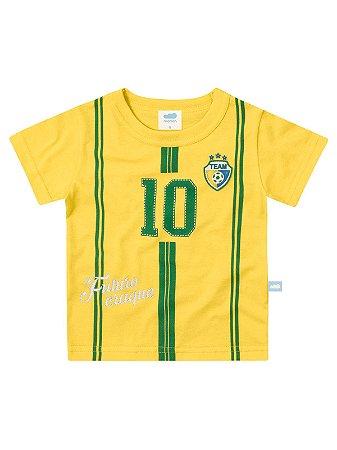 Camiseta Marlan Fantasia Seleção Brasileira Copa Curta Amarela