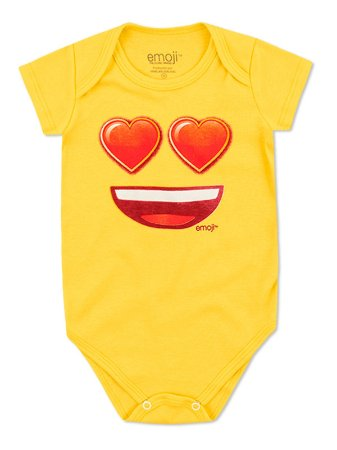 Body Divertido Marlan Curta Emoji Smile Amarelo