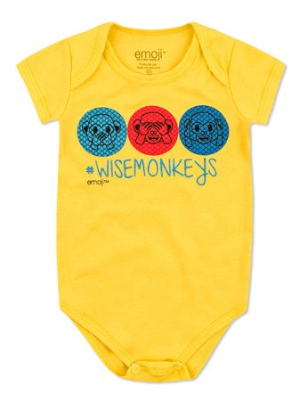 Body Divertido Marlan Curta Emoji Wise Monkeys Amarelo