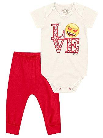 Kit Marlan 2 peças Body Emoji Love Curta e Calça Creme