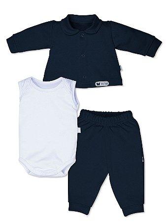 Conjunto Bela Fase 3 peças Casaco Body Calça Azul Marinho