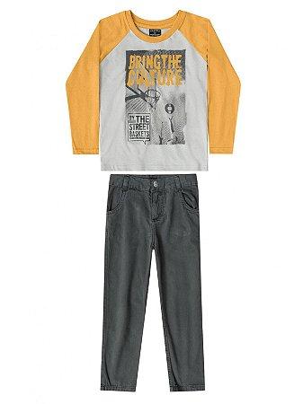 Conjunto Quimby 2 peças Camiseta Longa e Calça Sarja Mostarda