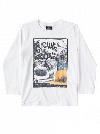 Camiseta Quimby Malha Longa Skate Branca