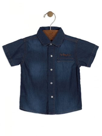 Camisa Jeans Up Baby Infantil Curta Azul Escuro