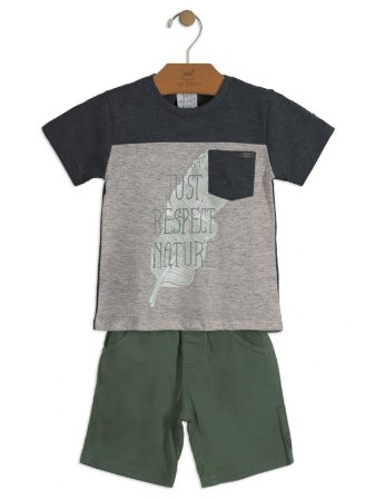 Conjunto Up Baby 2 peças Camiseta Curta e Bermuda Just Respect Cinza