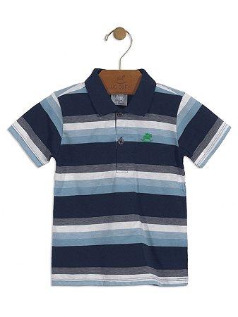 Camisa Polo Up Baby Malha Curta Listrada Azul