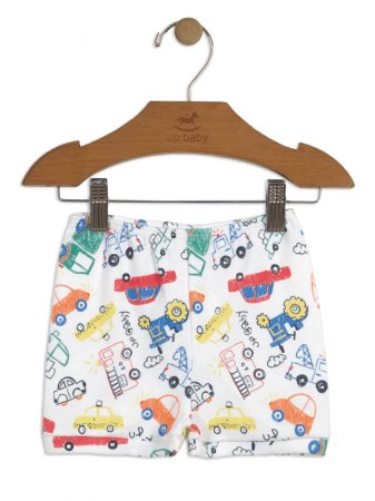 Short Up Baby Suedine Carrinhos Branco