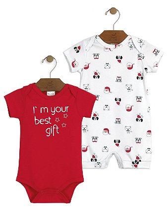 Kit Up Baby 2 peças Natal Body e Macaquinho Malha Curta Vermelho