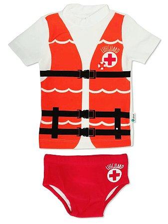Conjunto Puket 2 peças Camiseta e Sunga Baby Fantasia FPS Salva Vidas Branco