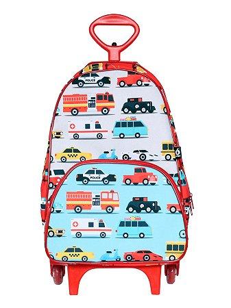 Mochila Escolar Ó Design com Rodinhas Carros