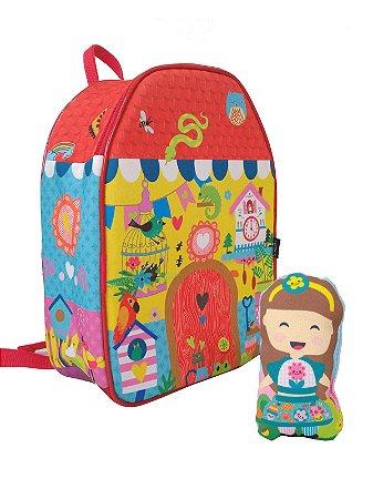 Mochila Baby Ó Design Casinha com boneca