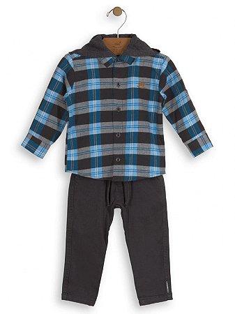 Conjunto Up Baby 2 peças Camisa Xadrez e Calça Sarja Azul