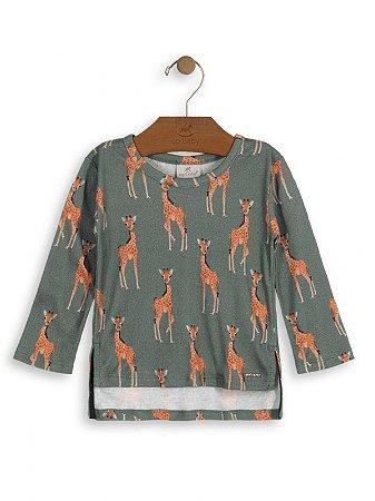 Blusa Up Baby Longa Meia Malha Girafinhas Verde