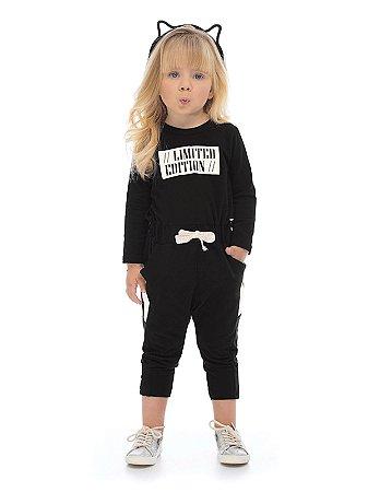 Macacão Up Baby Infantil Longa em Malha Suede Limited Edition Preto