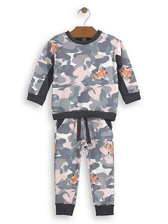 Conjunto Up Baby 2 peças Menina Blusão e Calça Mollecoton Camuflagem