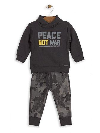 Conjunto Up Baby 2 peças Menino Blusão e Calça Moletom Militar Cinza Chumbo