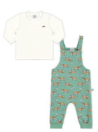 Conjunto Marlan 2 peças Camiseta Longa e Macacão Dogs