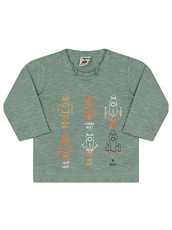 Camiseta Molekada Manga Longa Verde Mescla Foguete