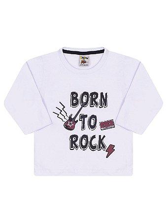 Camiseta Molekada Manga Longa Born to Rock Branca