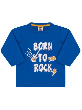 Camiseta Molekada Manga Longa Born to Rock Azul