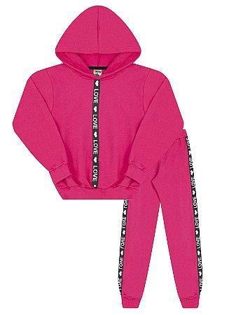 Conjunto Molekada Moletom 2 peças Blusão Capuz e Calça Pink