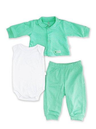 Conjunto Pagão 3 peças Bela Fase Casaco Body Regata Culote Verde