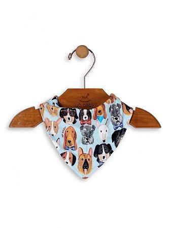 Babador Bandana Up Baby Suedine Dogs Azul