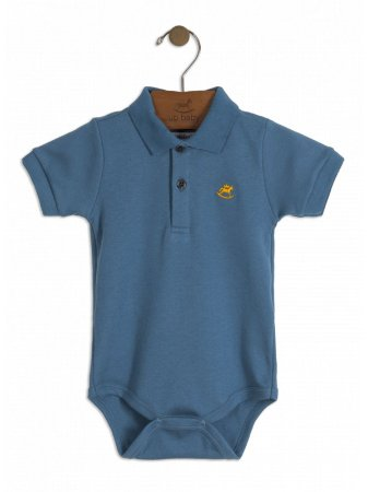 Body Up Baby Curta Gola Polo em Suedine Azul