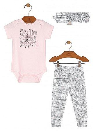 Kit 3 peças Up Baby Body Calça Faixa Cabelo Strike Rosa
