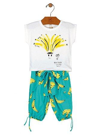 Conjunto Up Baby Infantil Blusa e Bermuda Bananas Branco