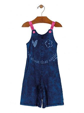 Macaquinho Up Baby Infantil em Malha Jeans Azul