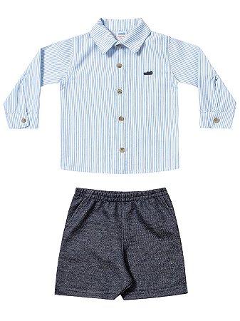 Conjunto Marlan Bebê Camisa Social Longa e Bermuda Moletom Azul