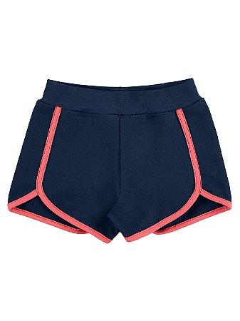 Shorts Marlan Infantil Moletom Azul Marinho