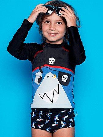 Camiseta Puket Surfista FPS Infantil Tubarão Azul