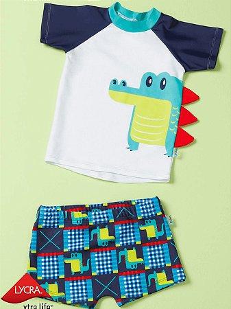 Conjunto Bebê Puket 2 peças Camiseta FPS Jacaré e Sunga Azul