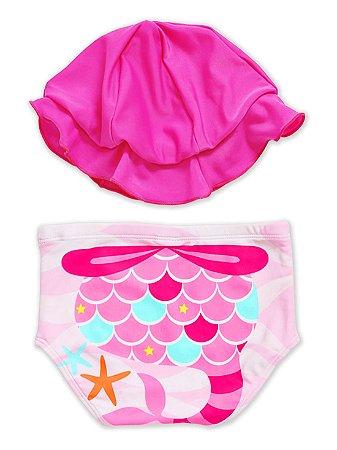 Conjunto Puket Chapéu e Biquini Tapa Fralda Sereia Pink