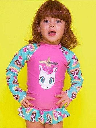 Conjunto baby Puket FPS Camiseta e Calcinha Unicórnio Rosa