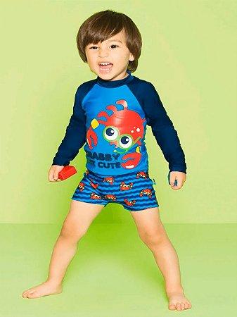 Camiseta Puket Infantil Surfista FPS Caranguejo Azul