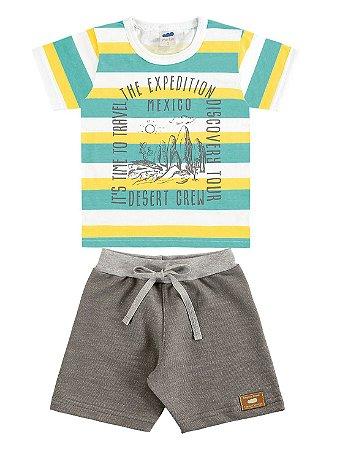 Conjunto Marlan Infantil Camiseta Manga Curta e Bermuda Malha Verde