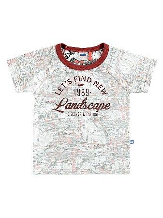 Camiseta Marlan Curta Infantil Landscape Vermelha