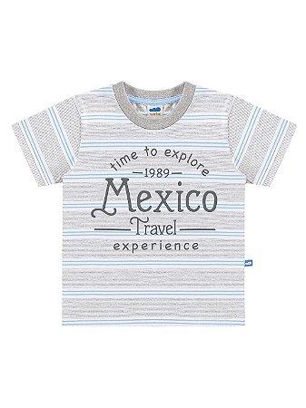 Camiseta Marlan Infantil Curta Malha Listas Mexico Cinza
