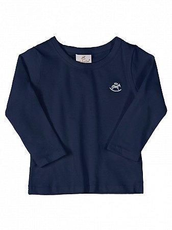Camiseta Up Baby Básica Menina em Malha Longa Azul Marinho