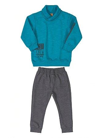 Conjunto Up Baby Jaqueta e Calça em Moletom Menino Azul