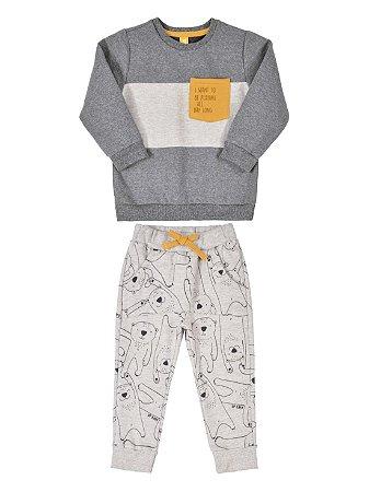 Conjunto Up Baby Blusão e Calça Urso Polar Cinza