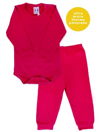 Conjunto Body e Calça Bebê Rosebud Ultramicro Thermo Pink