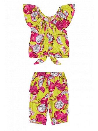 Conjunto Bebê Up Baby Blusa Malha e Calça Pitaya Verde