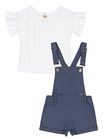 Conjunto Up Baby Jardineira Tecido Jeans e Blusa Flame Branco