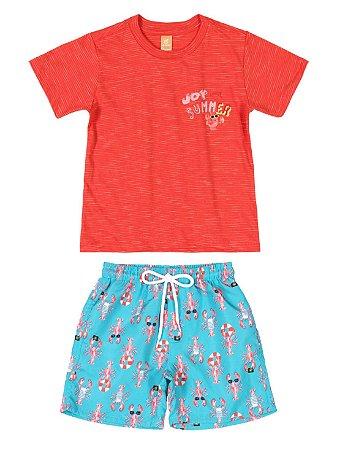 Conjunto Up Baby Camiseta Malha Bermuda Microfibra Lagosta Laranja